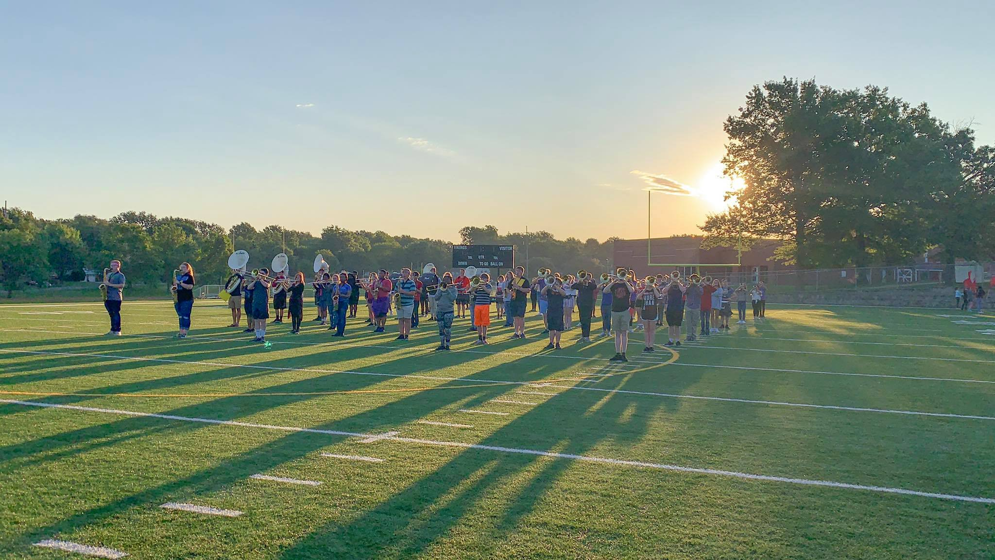Band Rehearsing on the Field