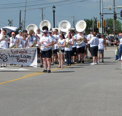 Shawnee Mission West Marching Band in the Louie Louie Lenexa Parade